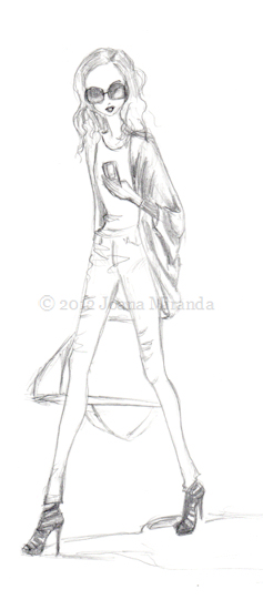 Whimsical pencil sketch of chic girl walking and texting by Joana Miranda