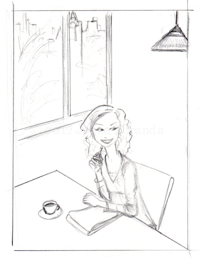 "Rough sketch for ""The Morning Pages"" illustration by Joana Miranda"