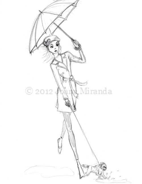 "Whimsical pencil sketch ""Chasing Andre"" by Joana Miranda"