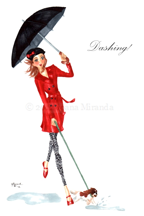 "Sweet marker and ink fashionista greeting card ""Dashing!"" by Joana Miranda"