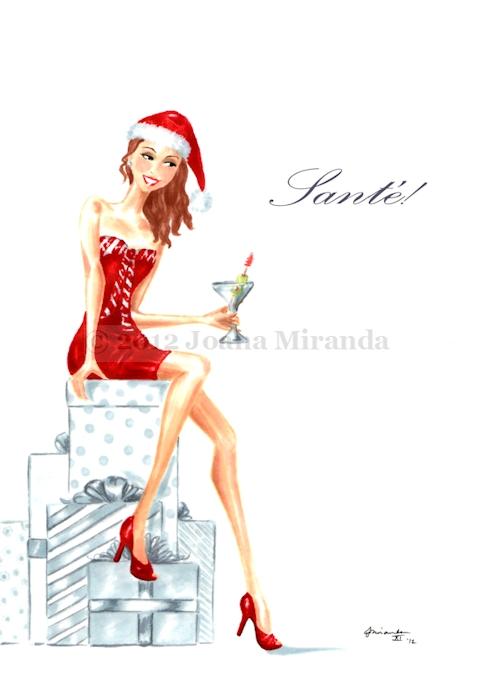 "Whimsical marker and ink illustration ""Sante"" by Joana Miranda"