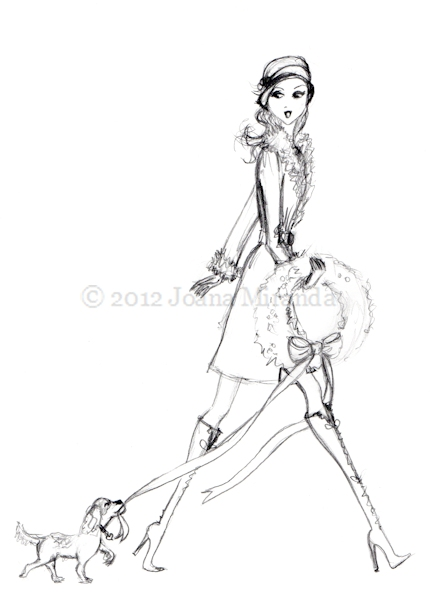 Pencil sketch for new holiday illustration by Joana Miranda