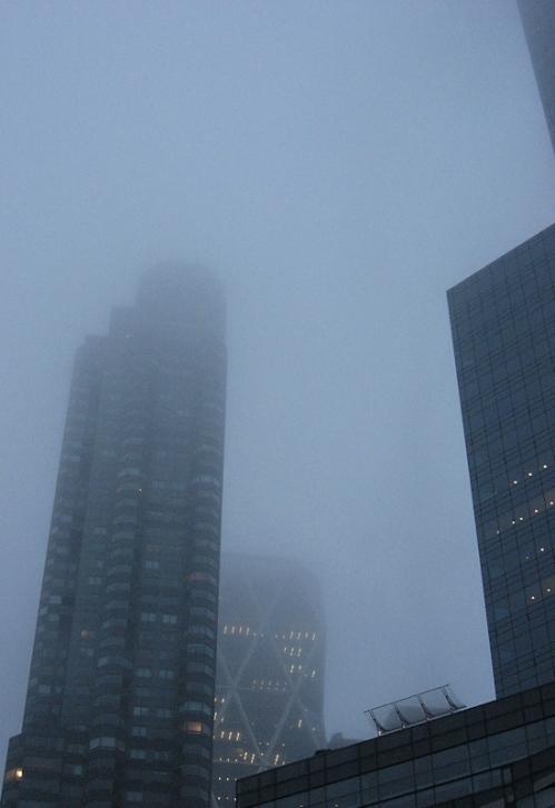 Time Warner Center in the fog