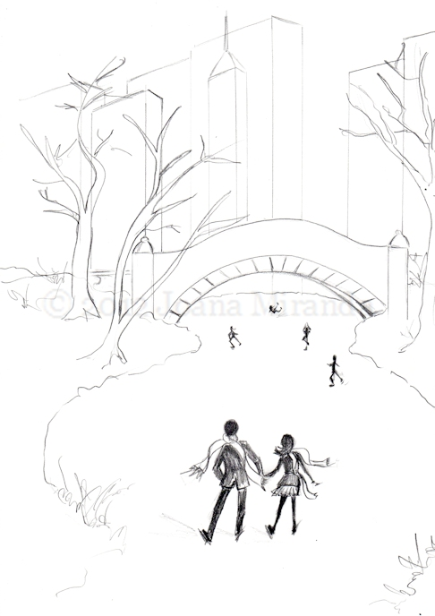 Whimsical pencil sketch of holiday ice-skating scene in Central Park by Joana Miranda