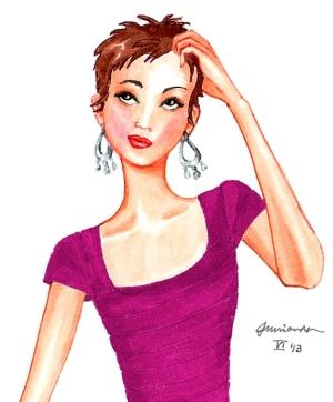 Josephine ponders pink dress