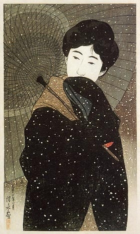 Shin Hanga snow fall print