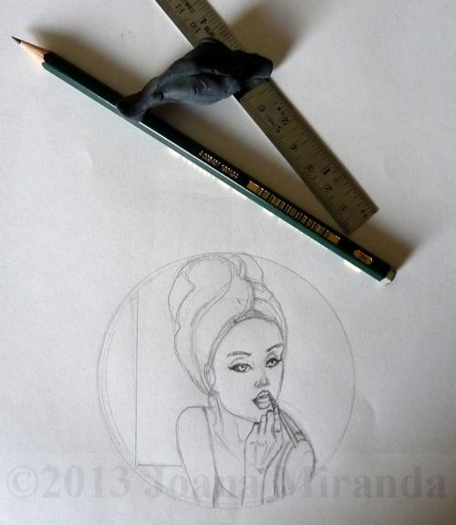 in the mirror prelim pencil sketch