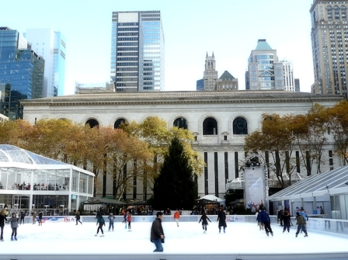 ice skaters at Bryant Park