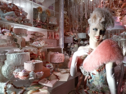 2013 Pink cake lady closeup in Bergdorf's Xmas display window