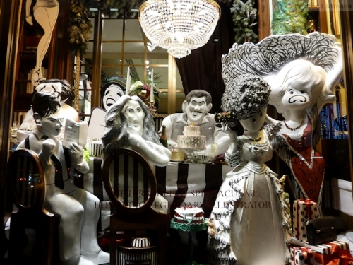 Festive dinner party window at Henri Bendels