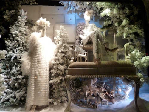 White fur and fringe window at 2013 Bergdorf Goodman's holiday window display