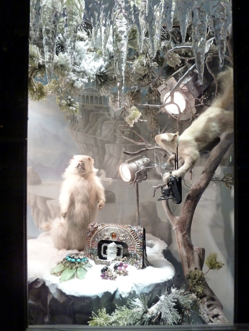 White mice in Bergdorf's 2013 display windows