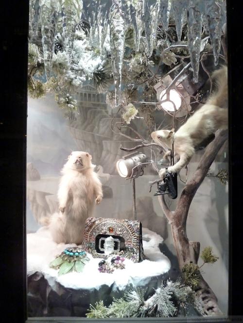White mice in Bergdorf's 2013 display windows