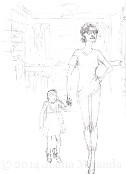 mother daughter sketch