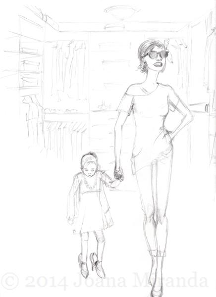 mother daughter sketch