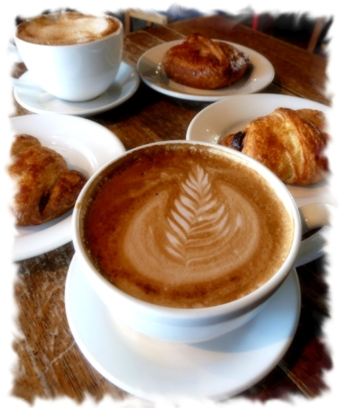 photo of cappucino and croissants