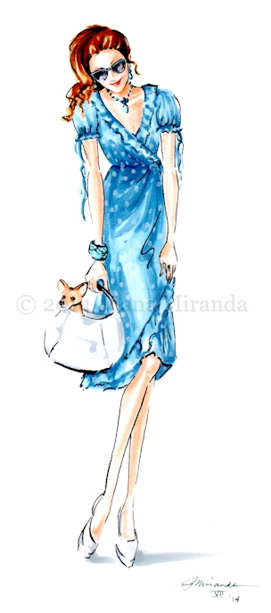 polka dotted dress and chihuaha for blog