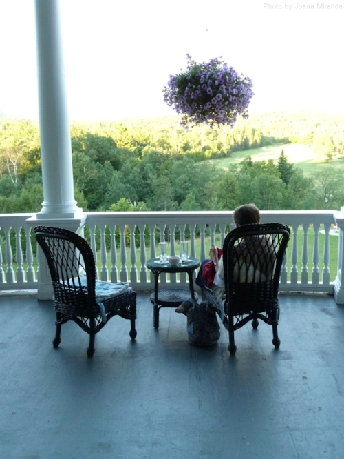 Photo of my mom knitting and admiring the view at Mount Washington Hotel