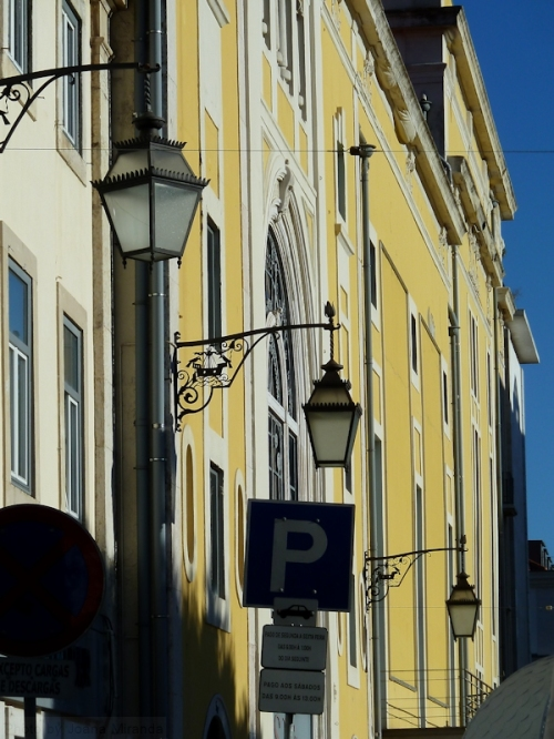 yellow building in Lisbon in the late afternoon
