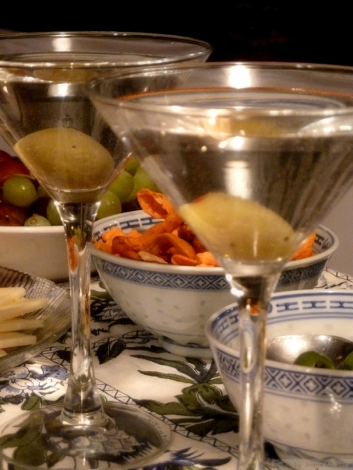 martini glasses and hors d'oevres