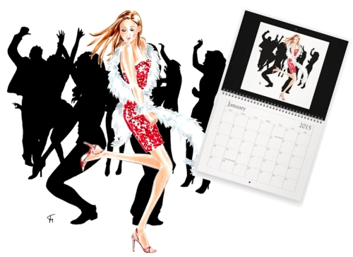 New Year's girl with calendar mockup