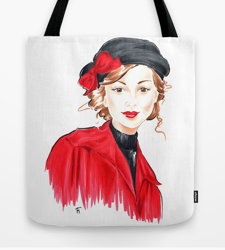 Girl in Black Hat on tote