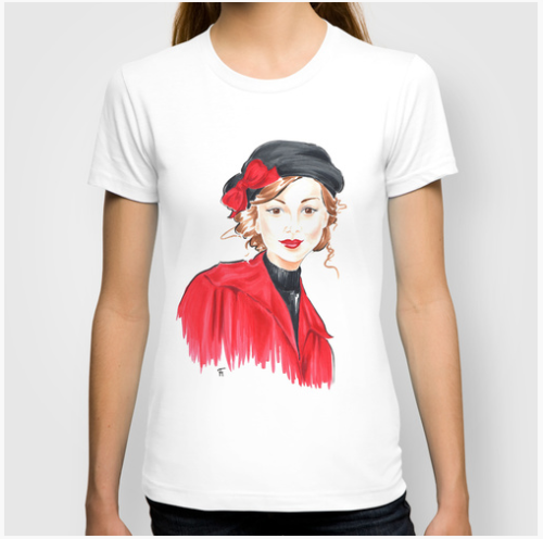 Girl in Black Hat tee shirt