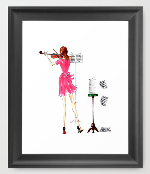 Violin girl framed wall print