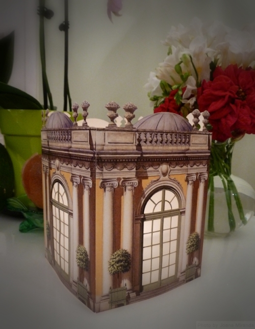 Architectural watercolors lantern with flowers