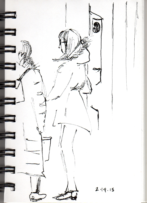 Two ladies wating for the subway