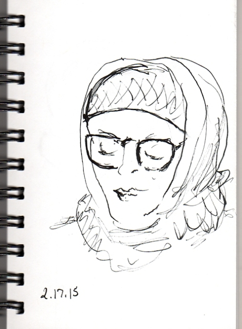 Woman with hat and hood on the subway pen sketch by Joana Miranda