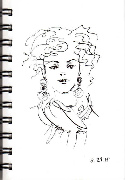 Curly hair girl sketch