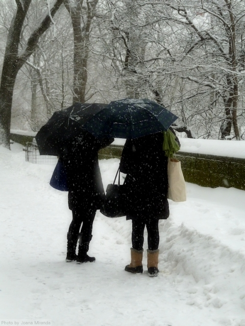two women in the snow