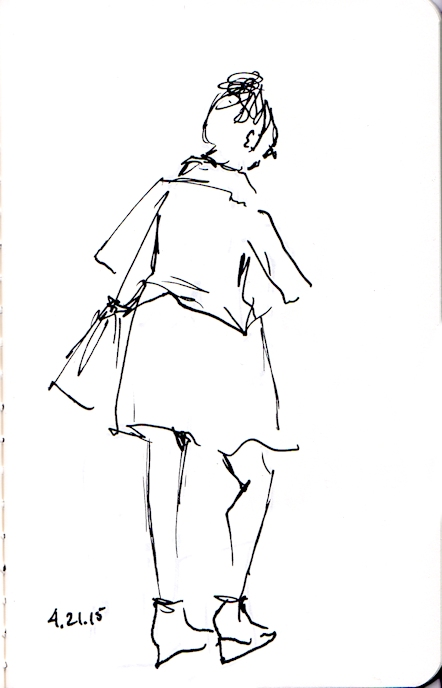 ink sketch of lady walking