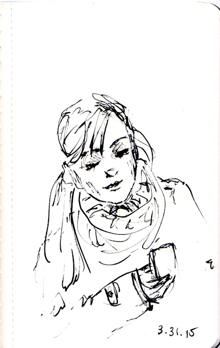 Pen and ink sketch of girl looking at her cell phone