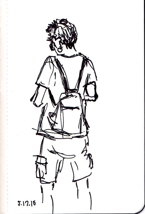Quick ink sketch of woman in cargo shorts waiting for subway