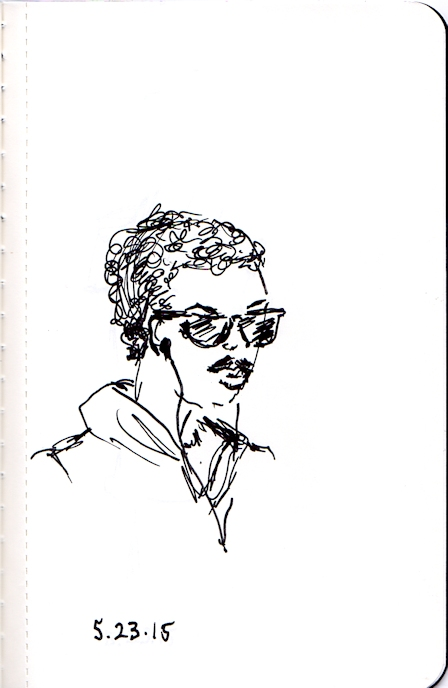 Young african american man ink sketch