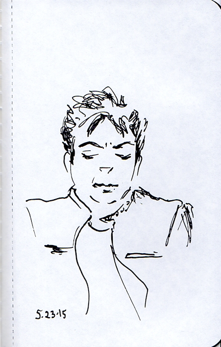 Young Hispanic man ink sketch