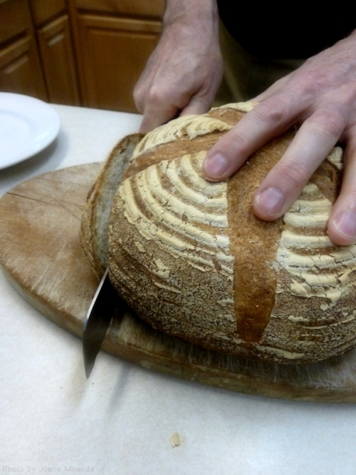 cutting the bread