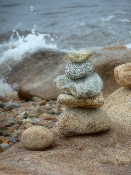 rock pile by the ocean