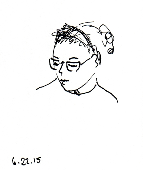 sketch of woman with head scarf