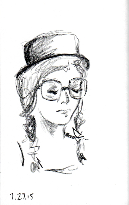 Sketch of woman in a black hat