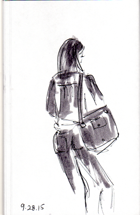 Girl with large tote bag