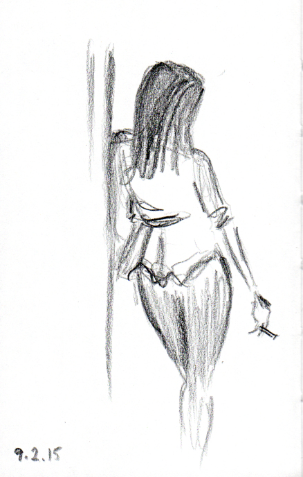 Lady with a cigarette sketch