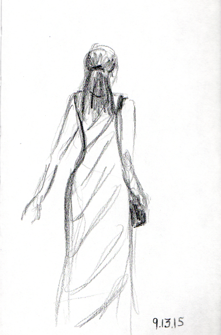 Woman in the long tank dress sketch