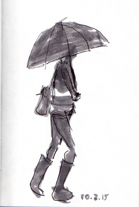 quick sketch of woman with umbrella