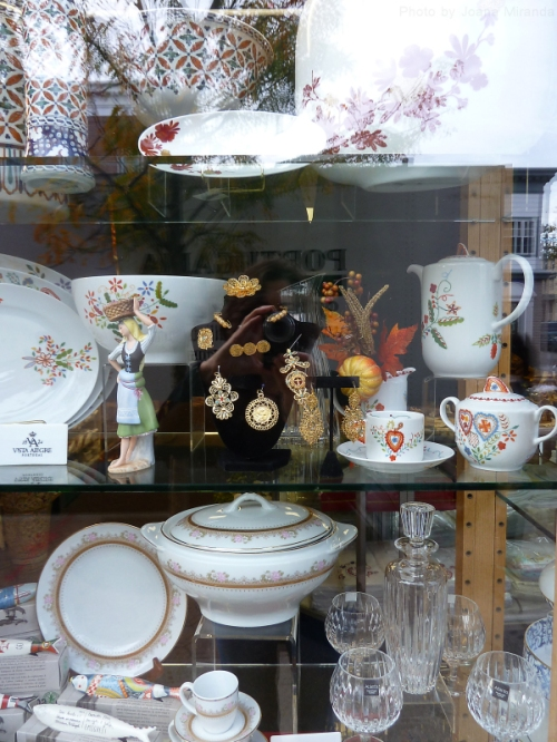 window in the Ironbound district with Portuguese ceramics and jewelry