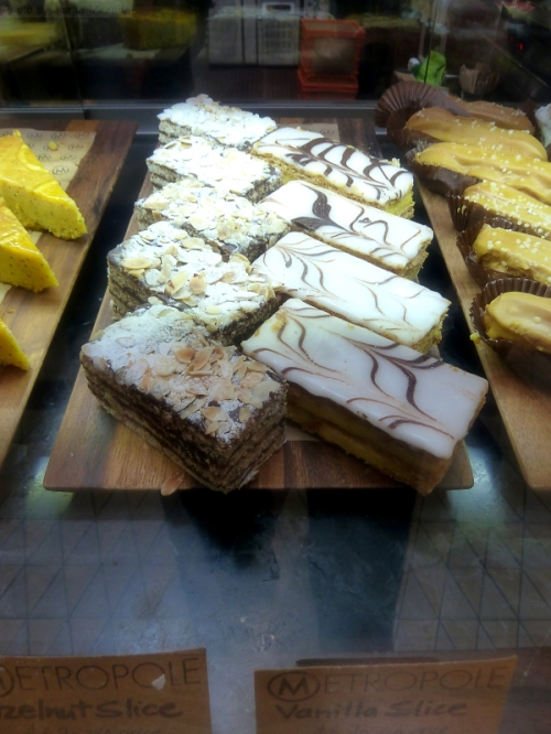 Assorted cakes at Metropole Cafe