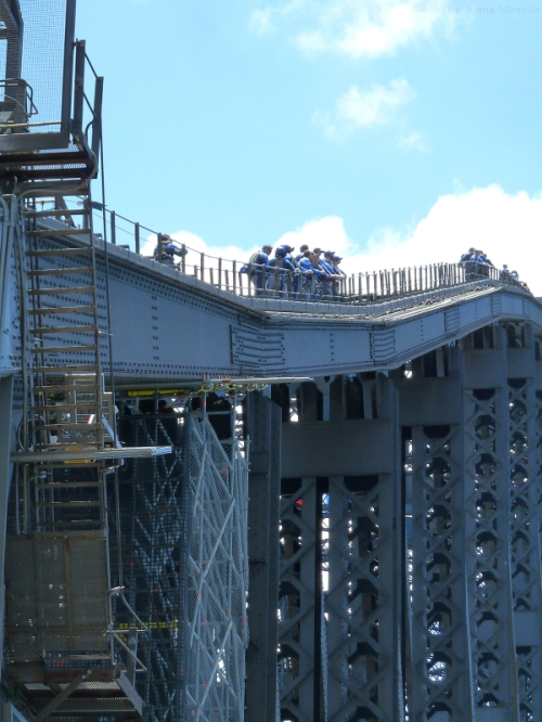 Groups of climbers atop Sydney Harbor Bridge