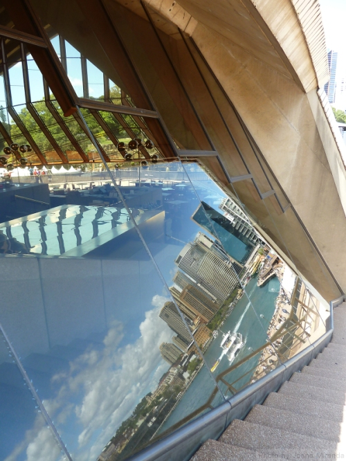 Reflection of the Sydney Harbor from the Sydney Opera House